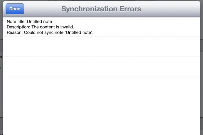 "Solved: Evernote for iPad ""Could not sync note"" Synchronization Error"